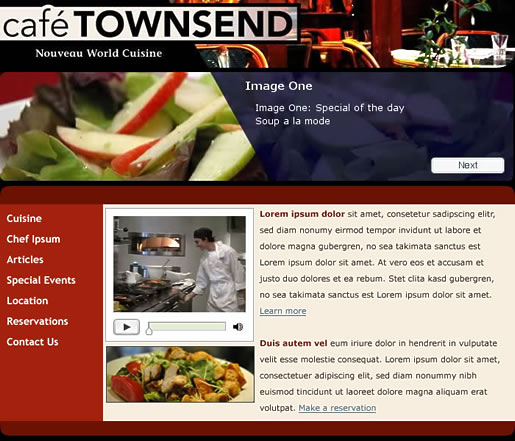 Figure 1 shows a comp of the Café Townsend page layout.